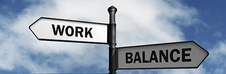 Work-life balance road sign concept for healthy lifestyle and wellbeing choice.