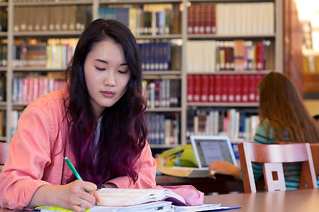 A student uses academic resources in the LBC library