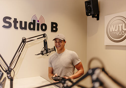A communication student in the LBC radio station