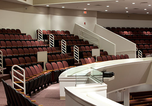 Balcony seating at Lancaster Bible College's Good Shepherd Chapel.
