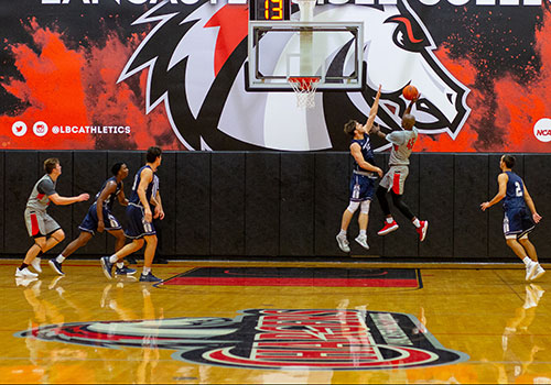 Basketball court at Lancaster Bible College