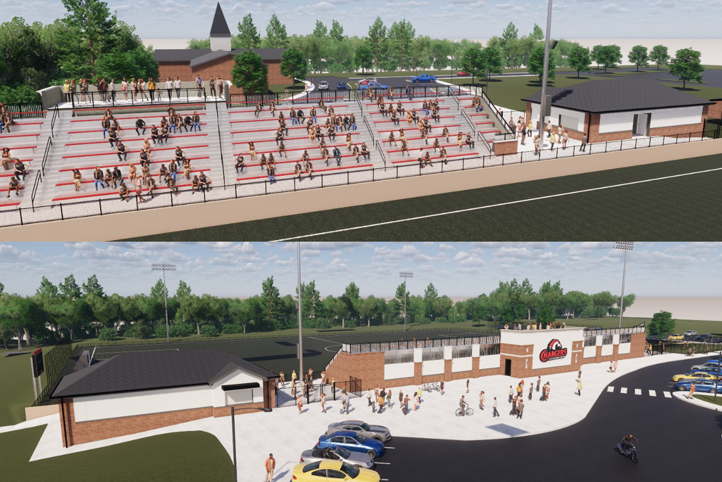 A drawing of the proposed stadium at the Lancaster campus