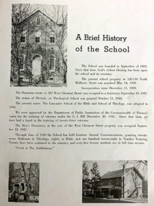 This page is found in the first-ever college yearbook and provides a quick history of the school.