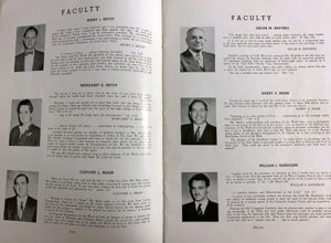 This photo shows some of the 1951 faculty, including President and college founder Henry J. Hedyt, as well as future president William J. Randolph.