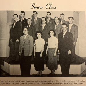 This photo of the 1951 senior class features future president Stuart Lease (bottom right).