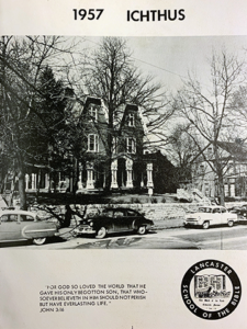 This is aA photo of the front of the college when it called Lancaster City home.