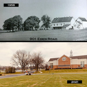 The above photo is from 1958 just prior to Lancaster School of the Bible taking over 15 acres of the Esbenshade Farm on Eden Road. The photo on the bottom is from earlier this month. The Old Main Building in the top photo was torn down in 2008, and the gazebo in the top right of the bottom photo sits on the land now.