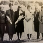 The 1985 Homecoming featured eight women from LBC, including Nancy Blauser (middle, dark dress) who was named Homecoming Queen.