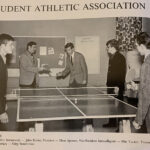 The Student Athletic Association plays some Ping-Pong on campus during the 1970-71 academic year. The student in the middle, Ellis Yunkin, had two sons, Lance and Jon, who would eventually become two of Lancaster Bible's best men's soccer players in the early 1990s.