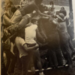 One of the events at the All-School Picnic during the 1975-76 academic year was to see how many freshmen could fit into one bathtub! Can you find the bathtub at the bottom of this picture?