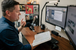 Aaron Brown, Assistant Professor and Director of the Master of Arts in Ministry program, prepares and records online instruction.